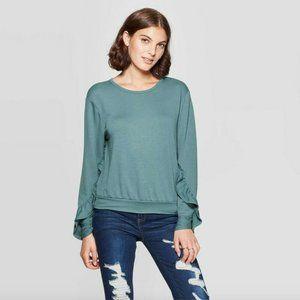 Xhilaration Ruffle Sleeve Lightweight Sweatshirt